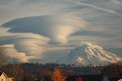 Multilayered lenticular clouds above Mt. Rainier