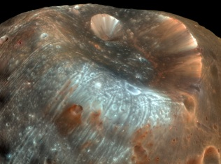 Stickney Crater, largest crater on Phobos