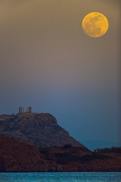Moon at perigee over Temple of Poseidon