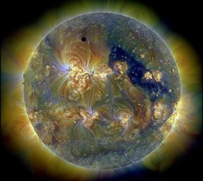 Venus transit across a triply UV Sun