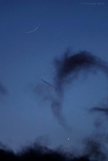 Two crescents: Moon over Venus