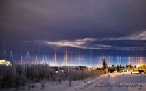 Light pillars over Alaska