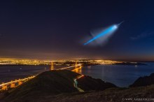 Trident missile launch (from a sub) near the Golden Gate Bridge