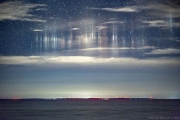 Light Pillars over Whitefish Bay