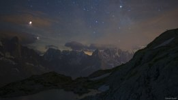 Lunar eclipse and Mars (and a goat!) over the French Alps